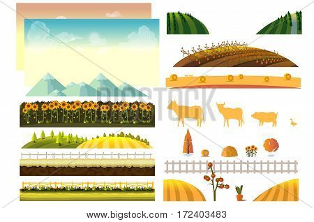 Landscape creator. Vector collection of landscape and farming design elements .Vector Illustration for your project