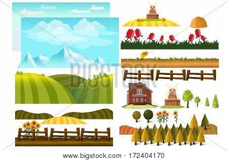 Farming infographic elements with farmer, farm, windmill,  Landscape creator