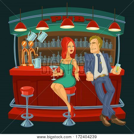 Vector cartoon illustration of a man meets a woman in a bar