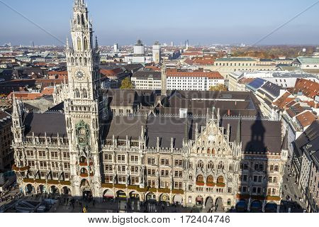 MUNICH, GERMANY - OCTOBER 31, 2015: Marienplatz also called Mary's Square is one of the most vital places in Munich with the new city hall and numerous cafes and shops