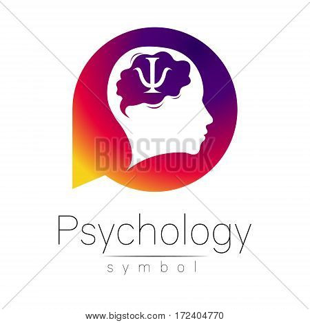 Modern head Sign of Psychology. Human in a circle. Creative style. Icon in vector. Design Brand company. Violet color isolated on white background. Symbol for web, print. Letter psi. Brain.