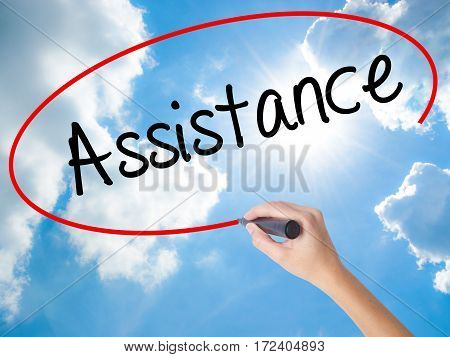 Woman Hand Writing Assistance With Black Marker On Visual Screen