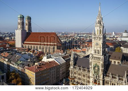 MUNICH, GERMANY - OCTOBER 31, 2015: Marienplatz also called Mary's Square is one of the most vital places in Munich with the new city hall and numerous cafes and shops the Frauenkirche is in the background