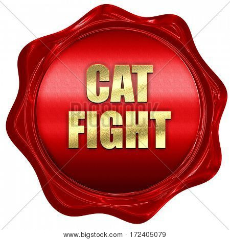 cat fight, 3D rendering, red wax stamp with text