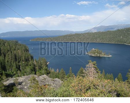 Looking down at Lake Tahoe located high in the Sierra Nevada mountain range in Northern California.