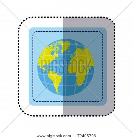 sticker square button earth world map with continents in 3d vector illustration
