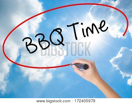 Woman Hand Writing Bbq Time With Black Marker On Visual Screen