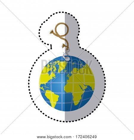 sticker hanging rope with metal hook and earth world map vector illustration