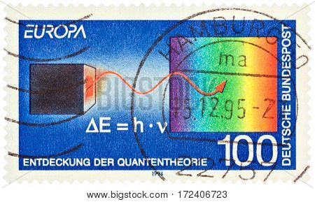 MOSCOW RUSSIA - February 20 2017: A stamp printed in Germany shows the Discovery of Quantum theory by Max Planck circa 1994