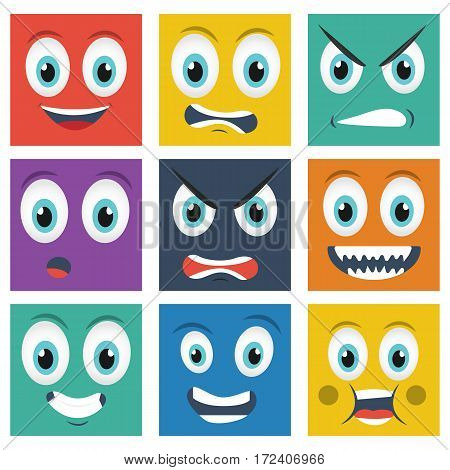 Cartoon faces with emotions . Different colors . Avatar vector