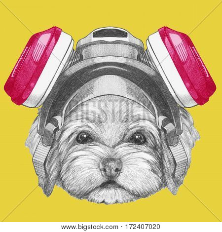Portrait of Havanese with gas mask. Hand drawn illustration of dog.