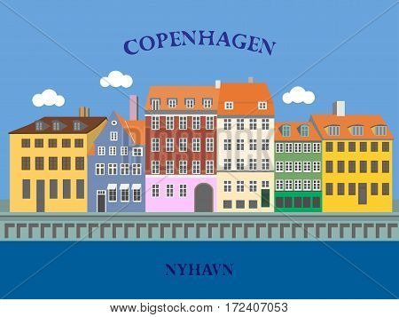 Panoramic view of Nyhavn Harbor Copenhagen Denmark. Vector illustration