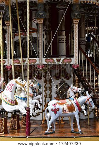 Strasbourg France - july 22 2016 : merry go round in the city center in summer