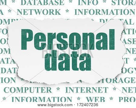 Data concept: Painted green text Personal Data on Torn Paper background with  Tag Cloud
