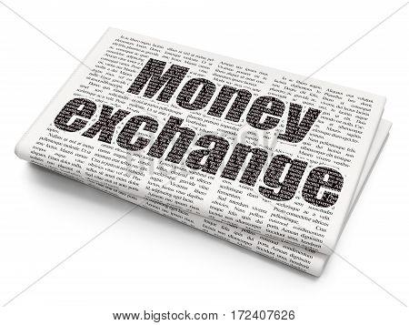 Banking concept: Pixelated black text Money Exchange on Newspaper background, 3D rendering