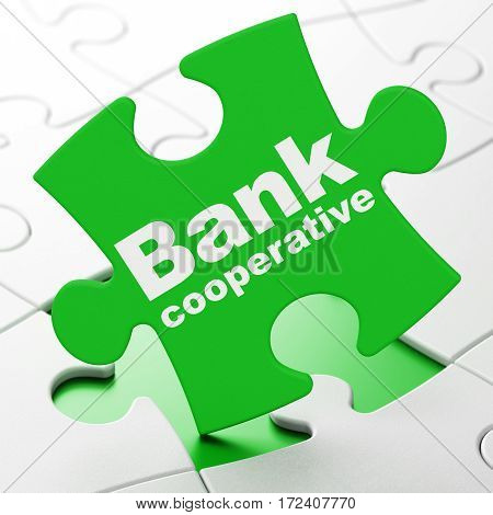 Currency concept: Bank Cooperative on Green puzzle pieces background, 3D rendering