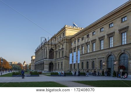 MUNICH, GERMANY - OCTOBER 31, 2015: The Munich Residenz is the former royal palace of the Bavarian monarchs of the House of Wittelsbach in the centre of the city of Munich