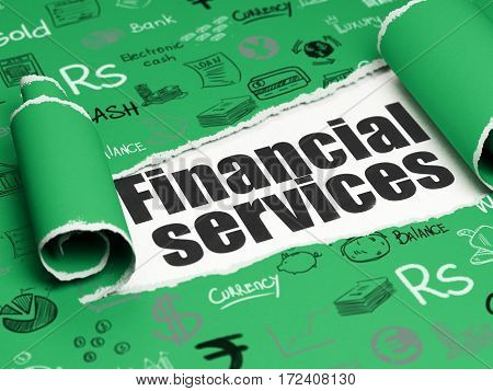 Banking concept: black text Financial Services under the curled piece of Green torn paper with  Hand Drawn Finance Icons, 3D rendering