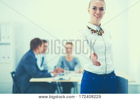 Close up image of a businesswoman hand offering handshake.