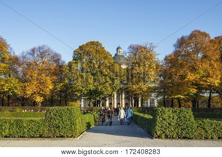MUNICH, GERMANY - OCTOBER 31, 2015: The Hofgarten (Court Garden) with the Bavarian State Chancellery in the background is located in the center of Munich between the Residenz and the Englischer Garten
