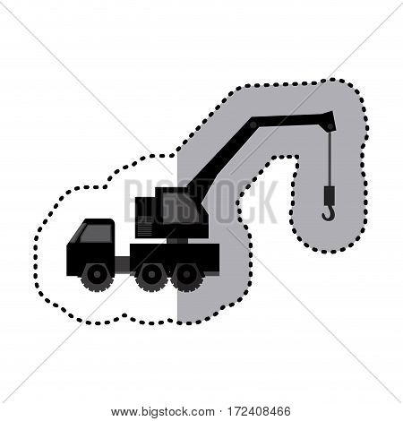 sticker monochrome tow truck vehicle transport vector illustration