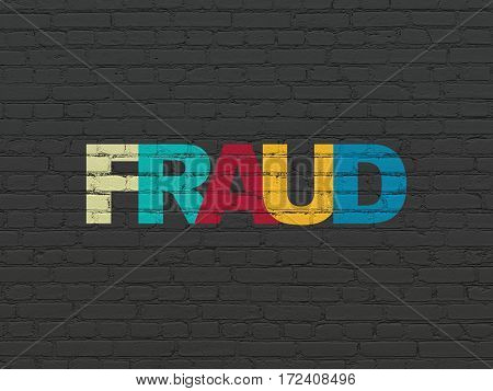 Privacy concept: Painted multicolor text Fraud on Black Brick wall background