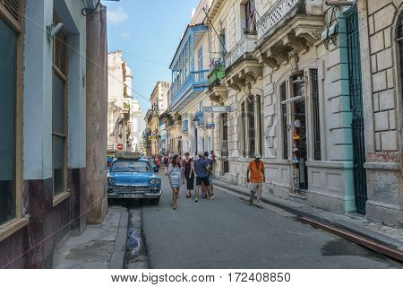 street view from La Habana Vieja the most touristic place of cuba on december 26 2016 in La Havana Cuba