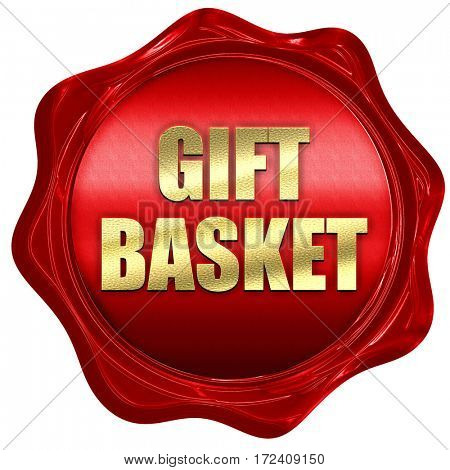 gift basket, 3D rendering, red wax stamp with text