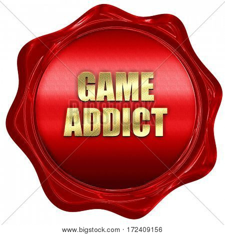 game addict, 3D rendering, red wax stamp with text