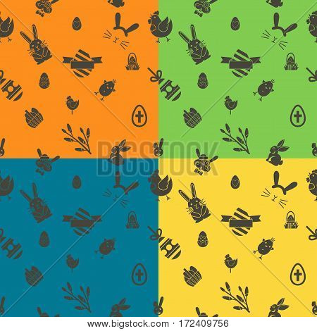 Easter Seamless Pattern. Four Background in Different Colors. Vector. Clean Work Minimum Points