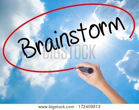 Woman Hand Writing Brainstorm With Black Marker On Visual Screen.