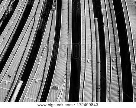 Gritty aerial view of platforms at London Bridge train station