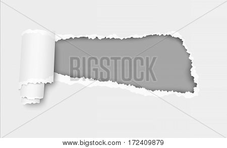 Vector ripped hole in sheet of paper with soft shadow and dark gray background in the resulting window