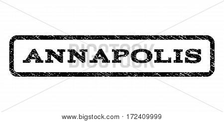 Annapolis watermark stamp. Text caption inside rounded rectangle frame with grunge design style. Rubber seal stamp with scratched texture. Vector black ink imprint on a white background.