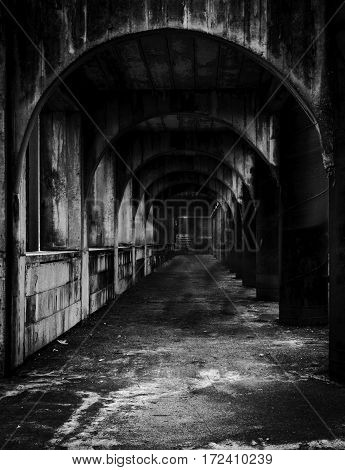 Scary old tunnel in abandon old building
