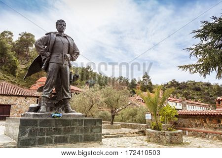 LAZANIAS, CYPRUS - MARCH 12: Monument to Grigoris Afxentiou close to Machairas Monastery on the slopes of Mount Kionia in Cyprus on March 12, 2016.