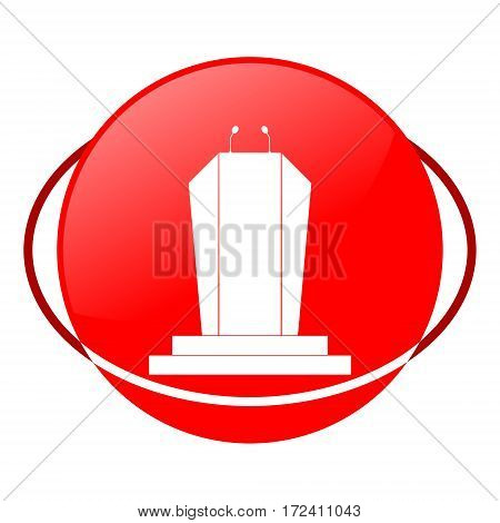 Red icon, podium vector illustration on white background