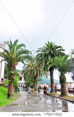promenade of Gagra colonnade rainy day in July