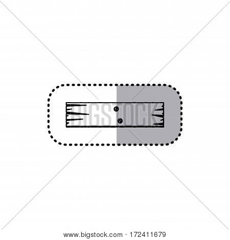 sticker silhouette rectangular piece wooden board with nails vector illustration
