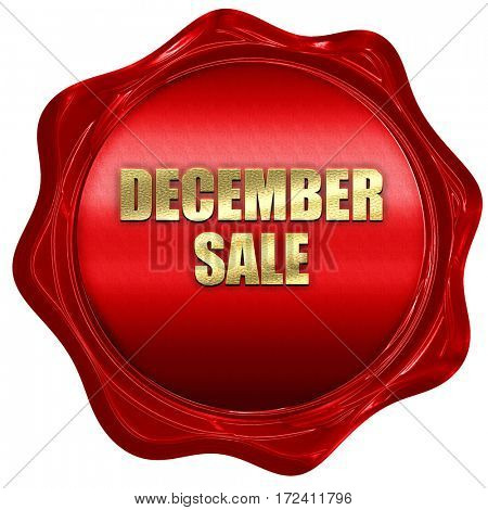 december sale, 3D rendering, red wax stamp with text