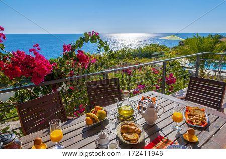 healthy breakfast at sea side, crete, greece