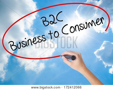 Woman Hand Writing B2C Business To Consumer With Black Marker On Visual Screen