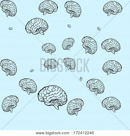 Seamless vector pattern of pink brain on a blue background