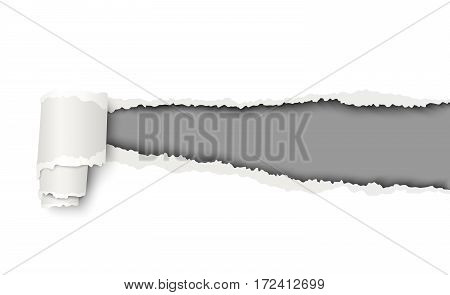 Vector snatched hole in white sheet of paper with soft shadow and dark grey background in the resulting window