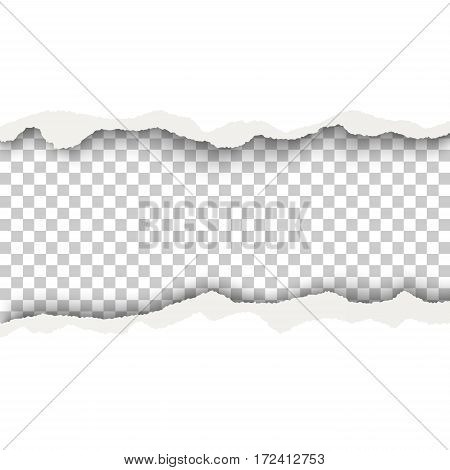 Snatched hole with torn edges in white sheet of paper. Transparent checkered background of the resulting window.Template design.