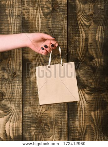 Brown Grey Shopping Bag In Female Hand On Wooden Background