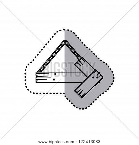 sticker silhouette arrow right shape wooden sign board with chains vector illustration