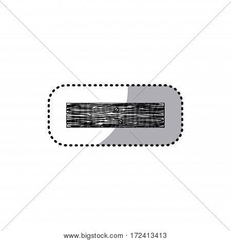 sticker monochrome rectangular piece wooden board with nails vector illustration