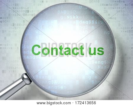 Business concept: magnifying optical glass with words Contact us on digital background, 3D rendering