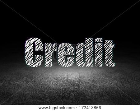 Business concept: Glowing text Credit in grunge dark room with Dirty Floor, black background